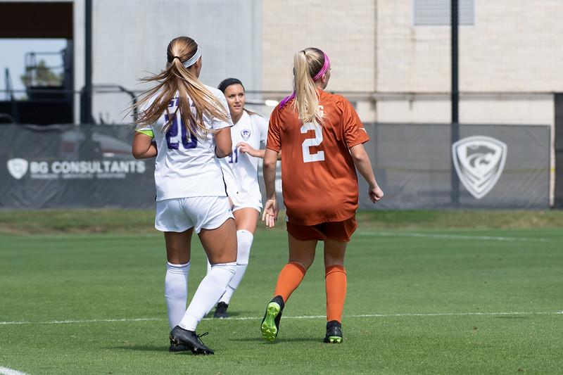 Forward Katie Cramer defends against Texas Longhorns' defensive midfielder Haley Berg at K-State Soccer stadium. Sept 29, 2019. (Dylan Connell | Collegian Media Group)