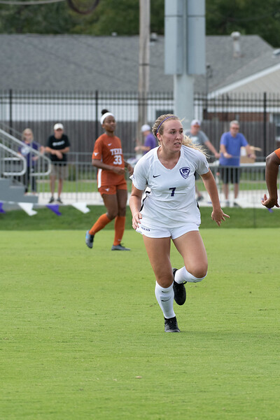 Forward Carly Mcconville tracking the ball preparing to score against the Texas Longhorns. Sept 29, 2019. (Dylan Connell | Collegian Media Group)