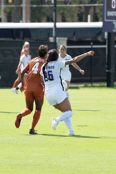 Aly Rocha defends for the wildcats against Texas Longhorns' forward Cydney Billups. Sept 29, 2019. (Dylan Connell | Collegian Media Group)