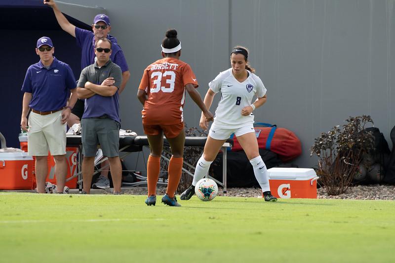 Midfielder Brooklyn Entz attacking outside midfielder Maddie Dorsett. Sept 29, 2019. (Dylan Connell | Collegian Media Group)