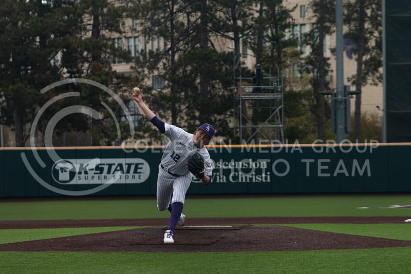 Redshirt junior, Tyler Eckberg throws a pitch to an Oklahoma University batter on the K-State home field. K-State won 3-2 in the first game of their doubleheader against OU on Saturday, April 17th. (Natalie Leonard l Collegian Media Group)
