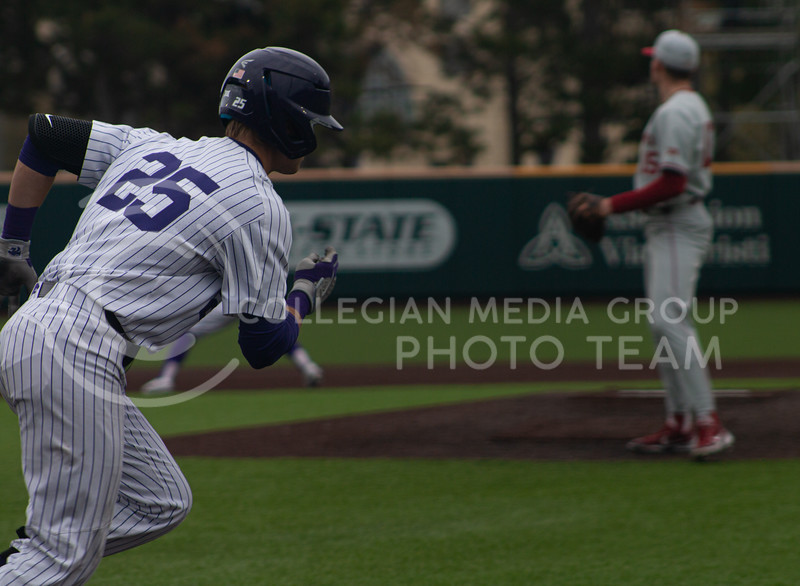 Freshman shortstop, Nick Goodwin runs to first base on the K-State home field. K-State won 3-2 in the first game of their doubleheader against Oklahoma University on Saturday, April 17th. (Natalie Leonard l Collegian Media Group)