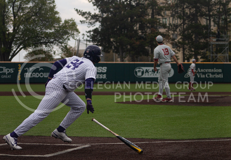 Sophomore left handed pitcher and outfielder for Kansas State University, Dylan Phillips bats to win the first game of K-State's double header against Oklahoma University. His final bat led the team to a 3-2 victory in their home stadium on Saturday, April 17th. (Natalie Leonard l Collegian Media Group)