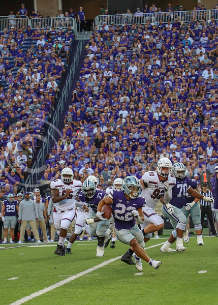 Sophomore running back Deuce Vaugn runs down the field during the September 11, 2021 game against Southern Illinois.