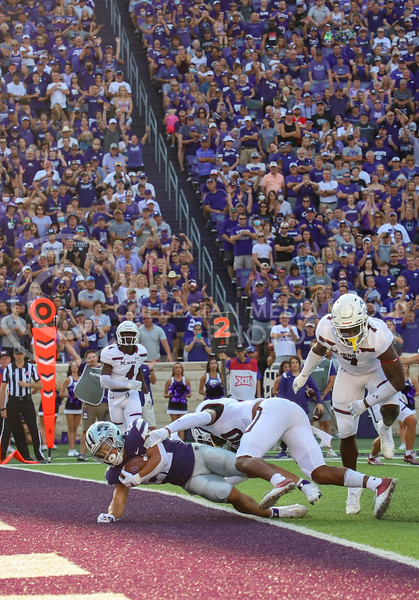 Sophomore running back Deuce Vaughn makes the touchdown at the September 11, 2021 game against Southern Illinois.