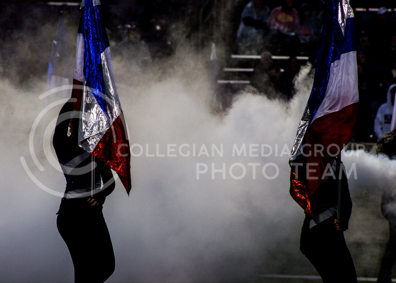 Kansas State color guard performs the halftime show at the game against the West Virginia Mountaineers at Bill Snyder Family Stadium, in Manhattan, KS, on Nov. 11, 2017. (Regan Tokos| Collegian Media Group)