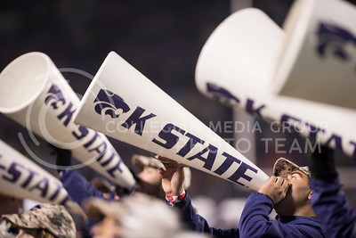 The Kansas State Wildcat Cheerleaders perform for the homegame against the West Virginia Mountaineers at the Bill Snyder Family Stadium, in Manhattan, KS, on Nov. 11, 2017. (Olivia Bergmeier | Collegian Media Group)