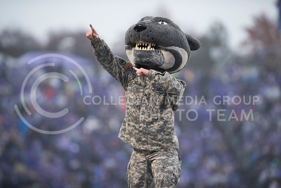Willie The Wildcat celebrates a touchdown for the Kansas State Wildcats at the homegame against the West Virginia Mountaineers at Bill Snyder Family Stadium in Manhattan, KS, on Nov. 11, 2017. (Olivia Bergmeier | Collegian Media Group)