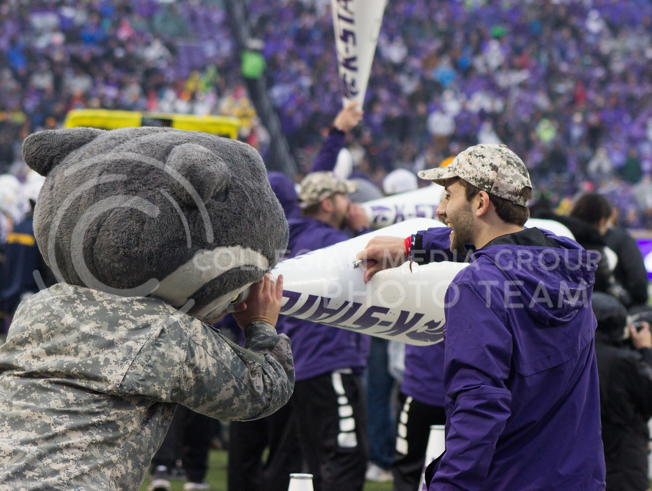 Kansas State cheerleader and Willie the Wildcat at the game against the West Virginia Mountaineers at Bill Snyder Family Stadium, in Manhattan, KS, on Nov. 11, 2017. (Regan Tokos| Collegian Media Group)