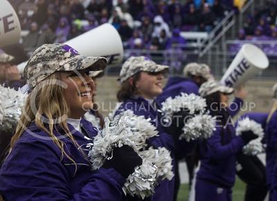 Kansas State Wildcat cheerleaders at the game against the West Virginia Mountaineers at Bill Snyder Family Stadium, in Manhattan, KS, on Nov. 11, 2017. (Regan Tokos| Collegian Media Group)