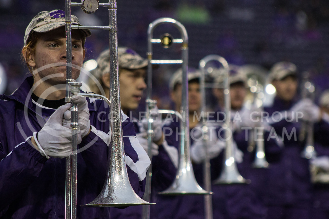 Kansas State band performs the halftime show at the game against the West Virginia Mountaineers at Bill Snyder Family Stadium, in Manhattan, KS, on Nov. 11, 2017. (Regan Tokos| Collegian Media Group)