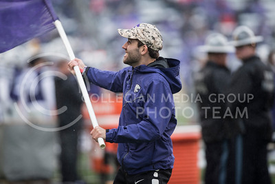 The Kansas State Wildcat Color Guard performs for the home football game against the West Virginia Mountaineers at Bill Snyder Family Stadium in Manhattan, KS, on Nov. 11, 2017. (Olivia Bergmeier | Collegian Media Group)