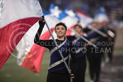 The Kansas State Wildcat Color Guard performs with the Kansas State Wildcat Pride Marching Band for the homegame agianst the West Virginia Mountaineers at Bill Snyder Family Stadium, in Manhattan, KS, on Nov. 11, 2017. (Olivia Bergmeier | Collegian Media Group)