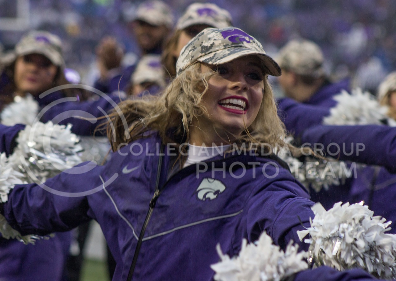 Kansas State Wildcat cheerleader at the game against the West Virginia Mountaineers at Bill Snyder Family Stadium, in Manhattan, KS, on Nov. 11, 2017. (Regan Tokos| Collegian Media Group)