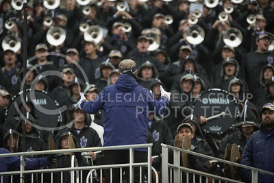 Dr. Frank Tracz directs the Kansas State Wildcat Pride Marching Band through Pep Band for the home football game against the West Virginia Mountaineers at Bill Snyder Family Stadium in Manhattan, KS, on Nov. 11, 2017. (Olivia Bergmeier | Collegian Media Group)