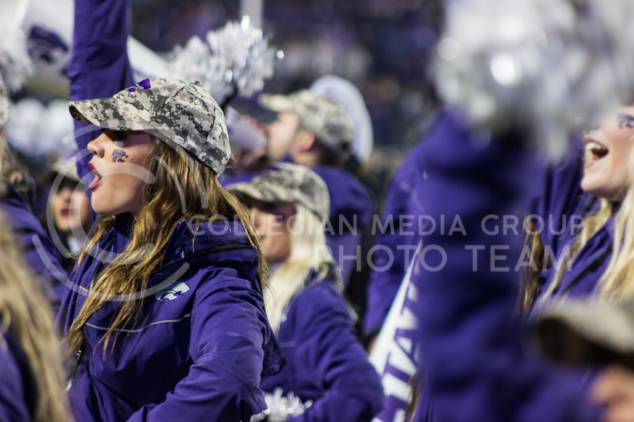 Kansas State Wildcat cheerleaders at the game against the West Virginia Mountaineers at Bill Snyder Family Stadium, in Manhattan, KS, on Nov. 11, 2017. (Regan Tokos| Collegian Media Group)