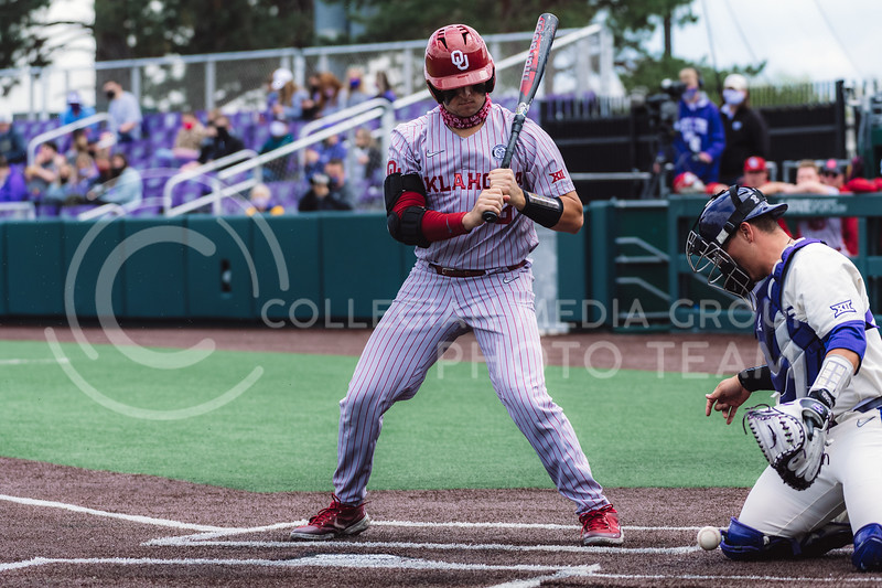 Wildcat's catcher, Chris Ceballos, retrieves a loose pitch. Kansas State University baseball capped off the weekend by defeating Oklahoma 8-3 at Tointon Family Stadium, Manhattan KS. 4/18/21. (Dylan Connell | Collegian Media Group)