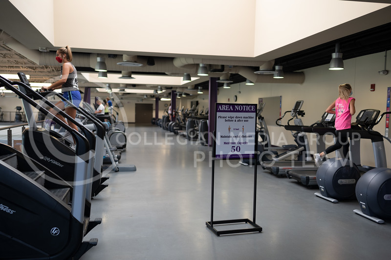 Kansas State University's Recreational Services have opened and are taking extra precautions to reduce the risk of COVID-19 transmissions. These precautions include screenings, face coverings, and a limited amount of patrons in each exercise facility. <br /> August, 20, 20. (Dylan Connell | Collegian Media Group)