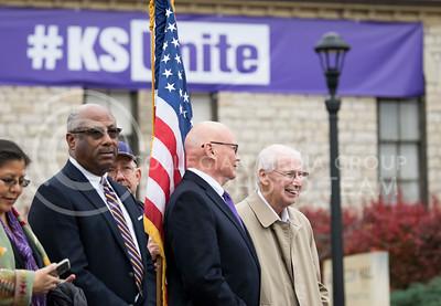 Bill Snyder attended the KSUnite Rally on Anderson lawn at Kansas State University, in Manhattan, KS, on Nov. 14, 2017. (Meg Shearer | Collegian Media Group)