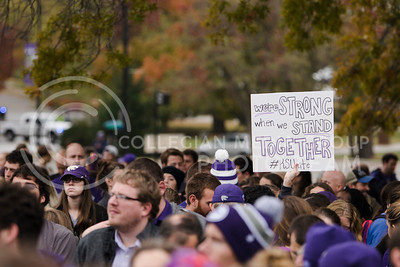 Students listen to the powerful speakers at the KSUnite Rally at Anderson lawn at Kansas State University, in Manhattan, KS, on Nov. 14, 2017. (Meg Shearer | Collegian Media Group)