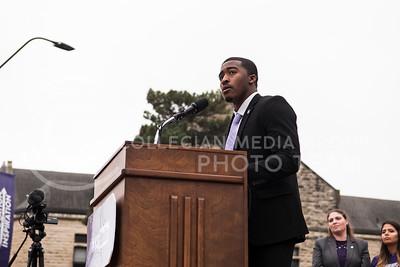 Kansas Sate University's Black Student Union President Darrell Reese speaks for the KSUnite Rally at the Anderson Greens, in Manhattan, KS, on Nov. 14, 2017. (Olivia Bergmeier | Collegian Media Group)