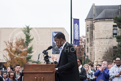 Darrell Reese speaks at the KSUnite Rally at the Anderson Greens at Kansas State University, in Manhattan, KS, on Nov. 14, 2017. (Olivia Bergmeier | Collegian Media Group)