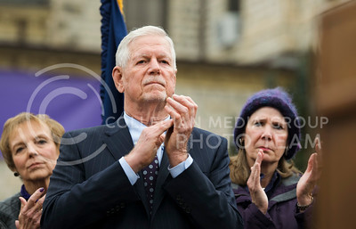 President Richard B. Myers claps during speeches of the KSUnite Rally at the Anderson lawn at Kansas State University in Manhattan, KS, on Nov. 14, 2017. (Meg Shearer | Collegian Media Group)