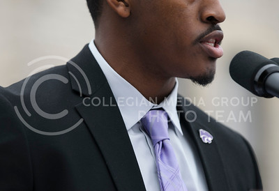Darrell Reese speaks at the KSUnite Rally at Anderson lawn at Kansas State University, in Manhattan, KS, on Nov. 14, 2017. (Meg Shearer | Collegian Media Group)