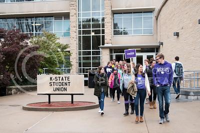 Kansas State University Students walk to the Anderson Greens from the Kansas State Student Union for the KSUnite Rally in Manhattan, KS, on Nov. 14, 2017. (Olivia Bergmeier | Collegian Media Group)