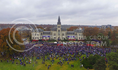 Kansas State students and faculty gather on the Anderson Hall lawn during the KSUnite rally in Manhattan, Kan. on Nov. 14, 2017. (Photo by Justin Wright | Collegian Media Group)