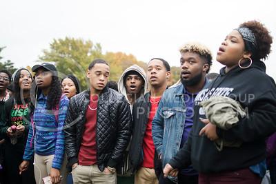 Members of the black student union sing before the start of the KSUnite Rally was held on Anderson lawn at Kansas State University, in Manhattan, KS, on Nov. 14, 2017. (Meg Shearer | Collegian Media Group)