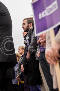 Kansas State Faculty listen to the speakers of the KSUnite Rally at the Anderson Greens at Kansas State University in Manhattan, KS, on Nov. 14, 2017. (Olivia Bergmeier | Collegian Media Group)