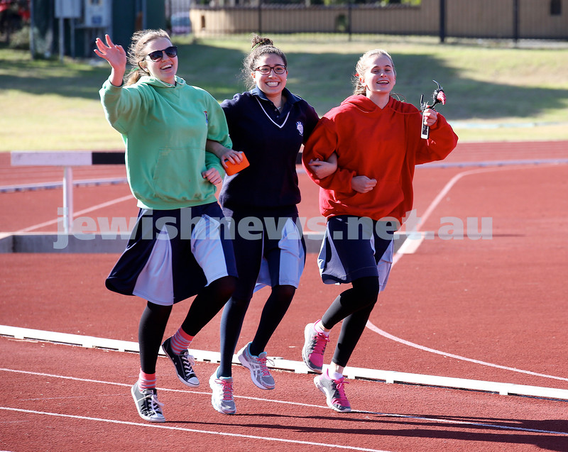 KTC Girls Sports Carnival. Chana Zinn (green), Faigy Niasoff, Ayelet Rev (red).