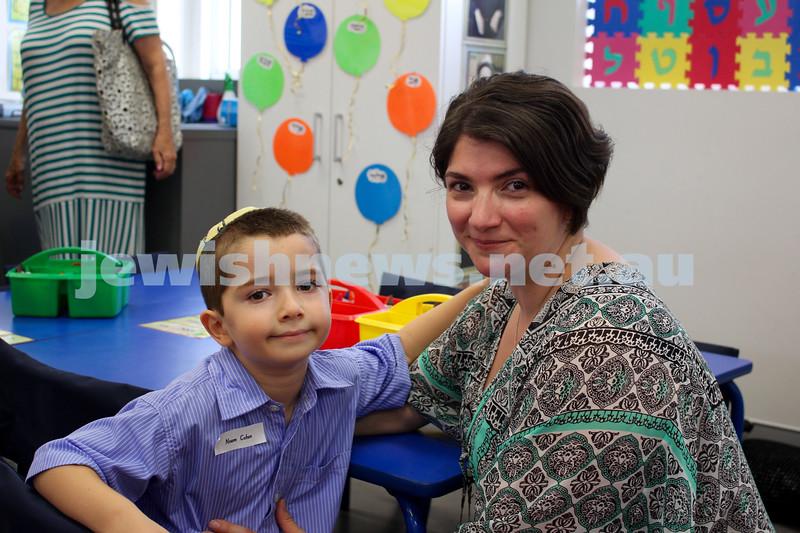 Kesser Torah College first day of kindergarten 2016. Noam and Suzy Cohen.