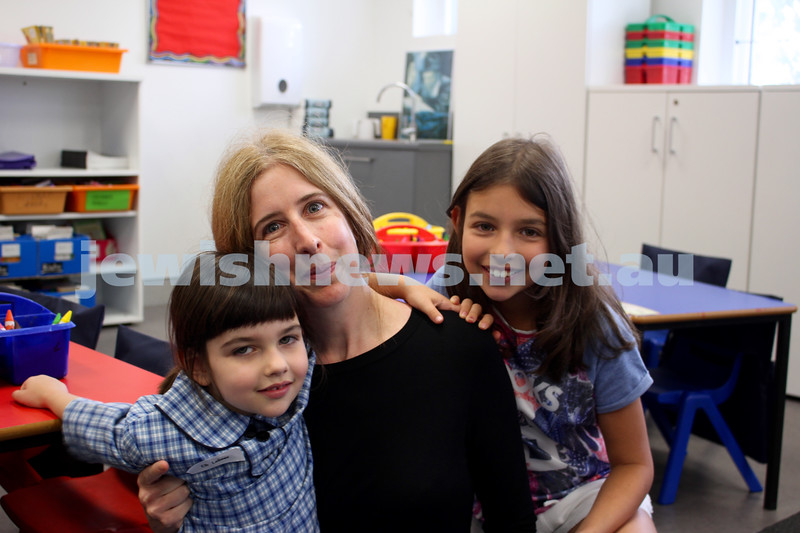 Kesser Torah College first day of kindergarten 2016. Elli Leibman, Lisa Garlick and Miri Liebman.