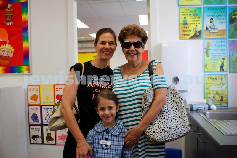 Kesser Torah College first day of kindergarten 2016. Carmel and Sylvia Pinshaw (back), Gabriella Pinshaw (front).