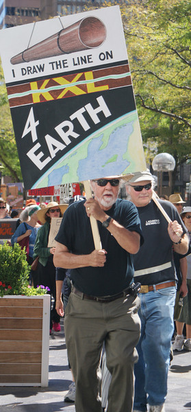 Senior man at anti KXL protest.