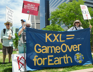 Obama/KXL Pipeline Protest-Denver 7/9/14