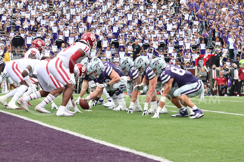 Prior to the snap, the offensive line is set before executing the play during the Oklahoma University game on October 2, 2021. <br /> (Macey Franko   Collegian Media Group)