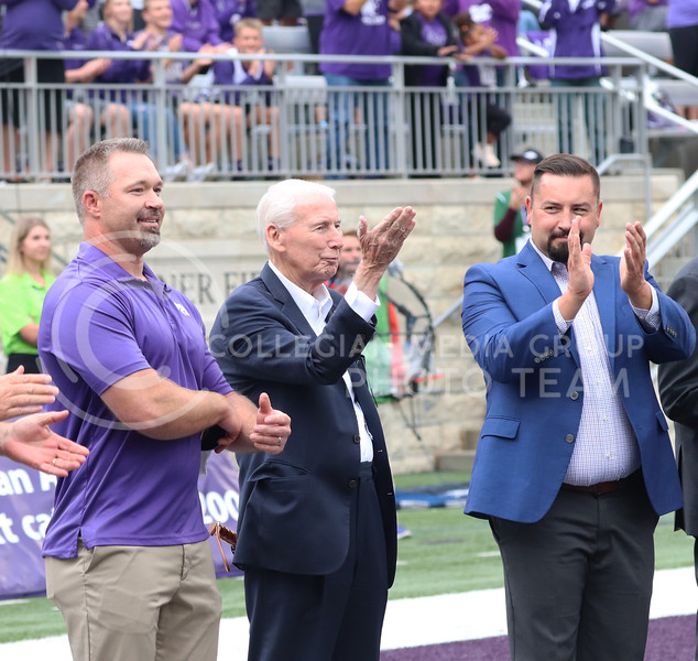 During the Hall of Fame Induction, former head coach Bill Snyder blows a kiss to the crowd at the Oklahoma University game on October 2, 2021. <br /> (Macey Franko   Collegian Media Group)