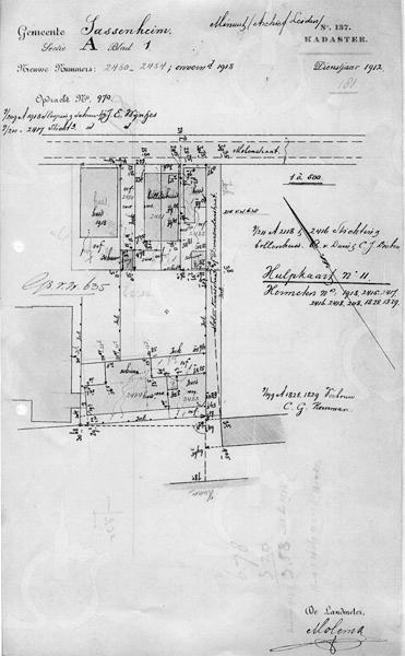 F2166<br /> Een bouwtekening van Molenstraat 4, het pand van J.E. Wijntjes. Foto: 1912.