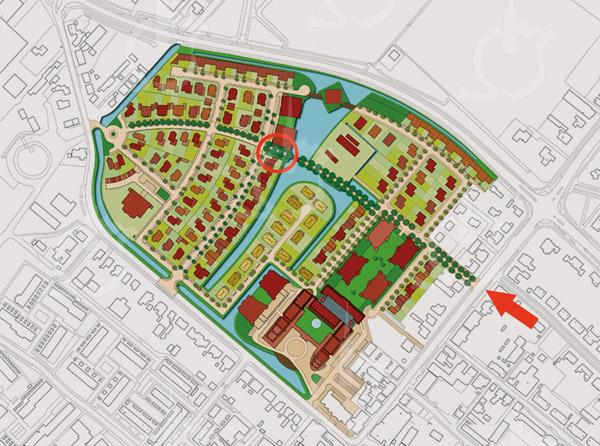F3901<br /> Rond de eeuwwisseling moeten er al concrete plannen geweest zijn, maar dit is een plantekening uit 2009 van het woongebied  Overteylingen. Linksboven is een rotonde getekend, met een ontsluiting naar de Teylingerlaan (Voorhout). Zover was het in 2015 nog niet. Verder zien we aan de rechterzijde dat de Jan van Brabantweg voorbij<br /> de Burchtstraat nog een stuk doorgetrokken moet gaan worden.<br /> Aan de bebouwing ten noordoosten van SassemBourg moest ook nog begonnen worden.