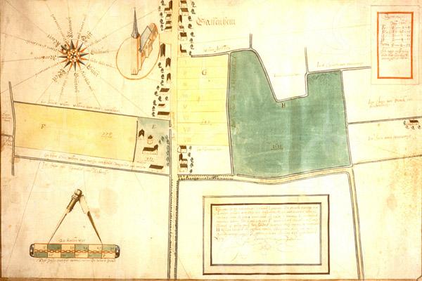 F1406 <br /> Het dorp Sassenheim, getekend door Jan Pietersz. Dou in 1662. Collectie Heereman van Zuijdtwijck, inv.nr. 15.