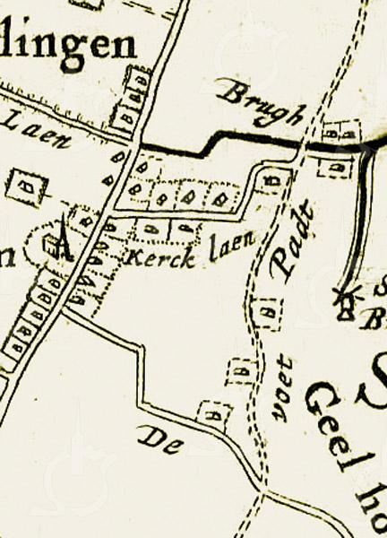 F3902<br /> Op deze kaart van J.J. Dou en Stevin van Broeckhuysen uit 1647 is de 'Kercklaen' goed te zien, alsmede de Verlengde. Verder zijn te herkennen: de Dorpskerk en de Menneweg met zijn kenmerkende bochten bij 't Onderdak.