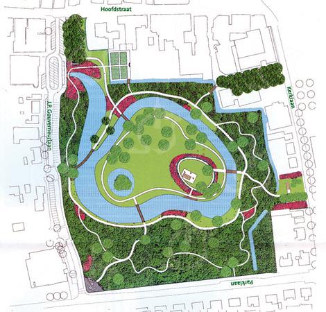 F0639 <br /> Ontwerp van de landschapsarchitecten Bosch en Slabbers voor de revitalisatie van het park Rusthoff. Dit is het zgn. Masterplan, uitgevoerd in de jaren 2001-2003.