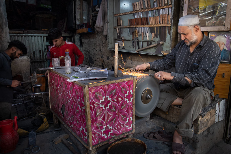Sharpening knives, Kabul.