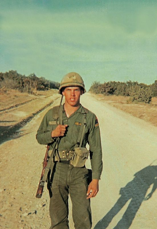 DK-1 Don Kaiser (TX, WIA 2 Feb 68), in the field at Fort Hood, Texas, with his M-14 and web belt. He was on a 17-mile forced march, hung-over, and feeling miserable