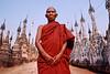 Moine bouddhiste dans l'allée centrale du site antique de Kakku. Etat Shan/Birmanie (Myanmar)