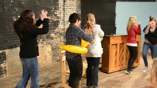 """A Day in the Life of a Senior Polite Mechanical Rehearsal:"" Michaela Schulz, Jonathan Muroya, Abby Kuhlmann, Audrey Haugen, Katelyn Slater, Abby Slater"
