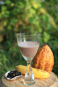 Photo recipe of healthy happy coconut cream shake, half-glassed comes to the photo-position
